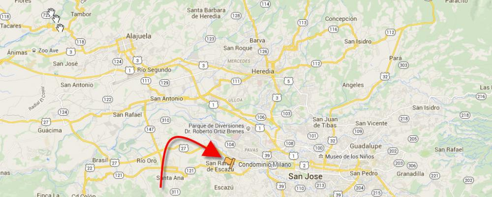 Condo Milano on map of San Jose/Escazu