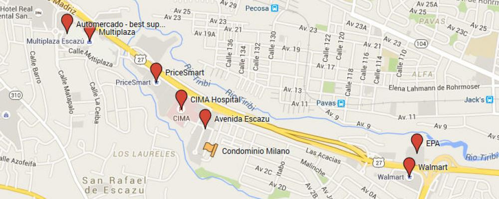 Map of Milano condo area